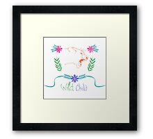 Wild Child Watercolor Lioness floral Crest Framed Print