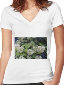 Natural pattern with white flowers and green leaves. Women's Fitted V-Neck T-Shirt