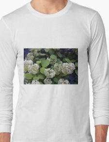Natural pattern with white flowers and green leaves. Long Sleeve T-Shirt