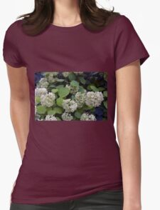 Natural pattern with white flowers and green leaves. Womens Fitted T-Shirt
