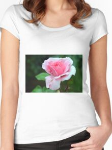 Pink rose on green background. Women's Fitted Scoop T-Shirt
