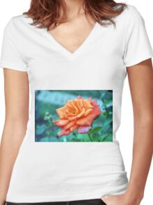 Beautiful orange rose in the garden. Women's Fitted V-Neck T-Shirt