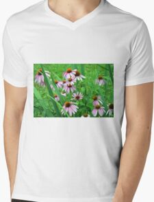 Delicate pink flowers in the grass. Mens V-Neck T-Shirt