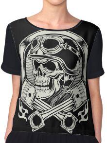 Awesome Biker skull Chiffon Top
