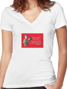 A large crisis! Women's Fitted V-Neck T-Shirt