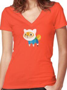 Shiba Finn Women's Fitted V-Neck T-Shirt