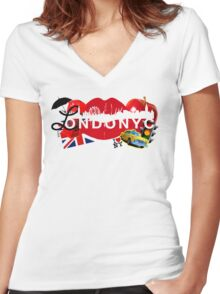 londonyc Women's Fitted V-Neck T-Shirt