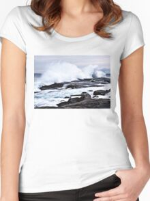 Ferocious Ocean -- Peggy's Cove, Nova Scotia Women's Fitted Scoop T-Shirt