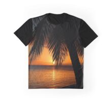 Tropical Palm Tree Ocean Sunset Print Tee Graphic T-Shirt