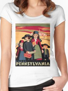 Rural Pennsylvania, Amish Children on a way to school Women's Fitted Scoop T-Shirt