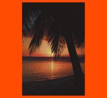 Tropical Palm Tree Ocean Sunset Print Tee Kids Tee