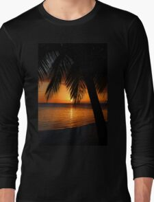 Tropical Palm Tree Ocean Sunset Print Tee Long Sleeve T-Shirt