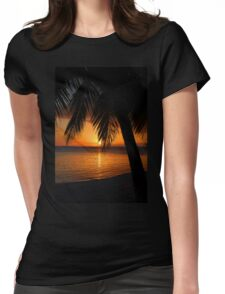 Tropical Palm Tree Ocean Sunset Print Tee Womens Fitted T-Shirt