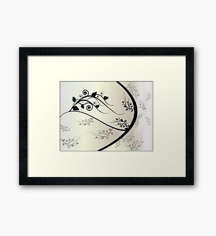Gray floral ornament Framed Print