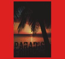 Paradise Found Tropical Palm Tree Orange Silhouette Graphic Print Kids Tee