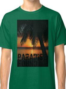 Paradise Found Tropical Palm Tree Orange Silhouette Graphic Print Classic T-Shirt