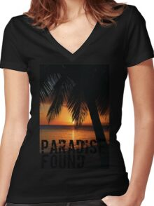 Paradise Found Tropical Palm Tree Orange Silhouette Graphic Print Women's Fitted V-Neck T-Shirt