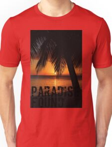 Paradise Found Tropical Palm Tree Orange Silhouette Graphic Print Unisex T-Shirt