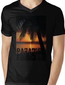 Paradise Found Tropical Palm Tree Orange Silhouette Graphic Print Mens V-Neck T-Shirt