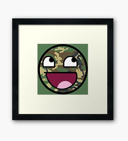 Camo meme face Framed Print