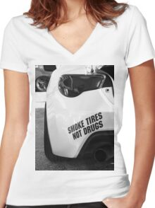Smoke Tires Women's Fitted V-Neck T-Shirt