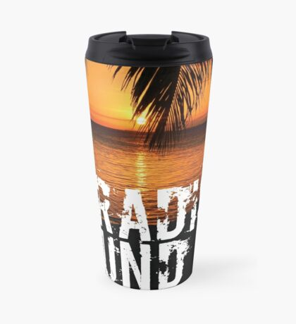 Paradise Found Tropical Palm Tree Beach Sunset Graphic Print Quote Travel Mug