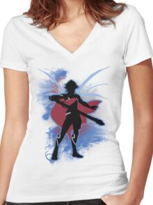 Super Smash Bros. Blue Male Corrin Silhouette Women's Fitted V-Neck T-Shirt