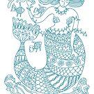 Mermaid and Friends - aqua print by TangerineMeg
