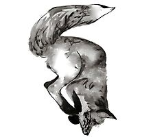 Diving, playful fox hand drawn and illustrated with pen and ink. Photographic Print