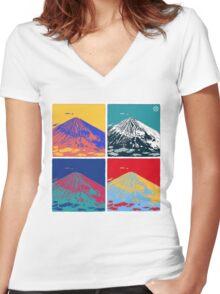 Mount Fuji Pop Art Women's Fitted V-Neck T-Shirt