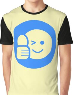 Blue Thumbs Up Smiley  Graphic T-Shirt