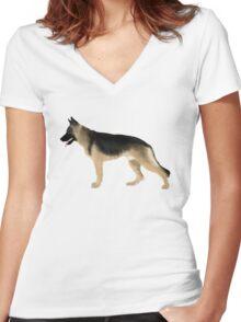 German Shepherd: Tan & Black Women's Fitted V-Neck T-Shirt
