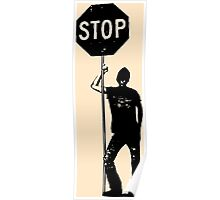 Retro Man With Stop Sign Poster