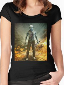 Crazy Scary Monster Apocalyptic Scene Women's Fitted Scoop T-Shirt
