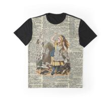 Alice In The Wonderland,Alice and Playing Cards,Vintage Dictionary Art Graphic T-Shirt