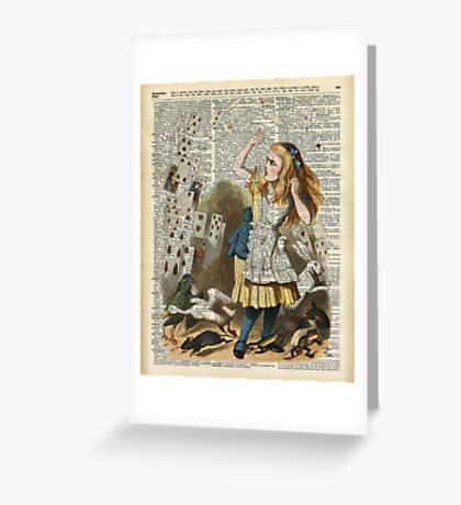 Alice In The Wonderland,Alice and Playing Cards,Vintage Dictionary Art Greeting Card