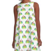 Watercolor Lovebirds Pattern A-Line Dress