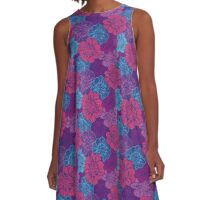 Graphical peony pattern A-Line Dress