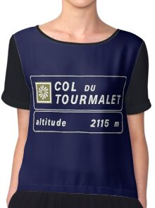 Col du Tourmalet, Road Sign, France Chiffon Top