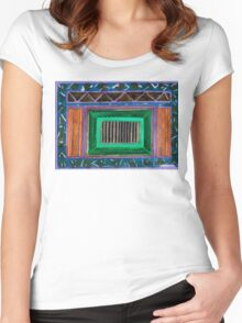 Lightful Scenery in Green and Orange  Women's Fitted Scoop T-Shirt