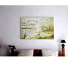 My Pencil Drawing of Danube And A Boat, hanging above our bed in Romania Photographic Print
