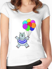 Rhino and balloons  Women's Fitted Scoop T-Shirt