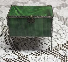 Green Stained Glass trinket box by Maree  Clarkson