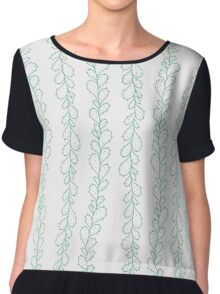 Green hand drawn cactus branches on white - pattern Chiffon Top
