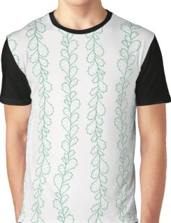 Green hand drawn cactus branches on white - pattern Graphic T-Shirt