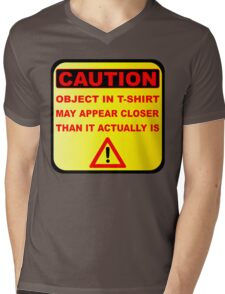 Funny Caution Object In T-Shirt  May Appear Closer Than It Actually Is Mens V-Neck T-Shirt