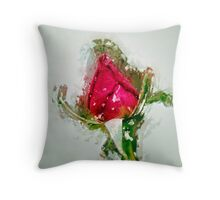 Digitally manipulated drawing of a red Rose bud Throw Pillow