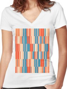 Pattern 034 Retro Rectangle Pastel Colors Women's Fitted V-Neck T-Shirt
