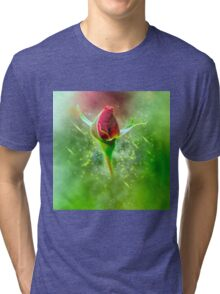 Digitally manipulated red Rose bud Tri-blend T-Shirt