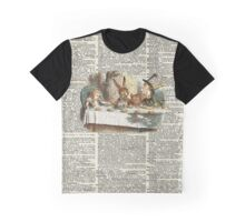 Alice in Wonderland,Tea Time Vintage Illustration,Dictionary Art Graphic T-Shirt